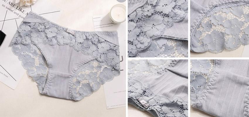 花朵鏤空蕾絲拼接羅紋棉質低腰內褲