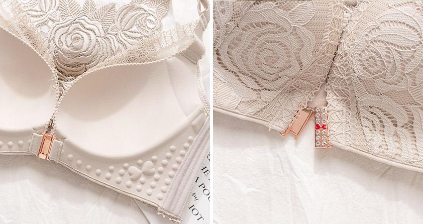 大罩杯內衣推薦:玫瑰仙境。大尺碼無鋼圈蕾絲美背前釦調整型內衣